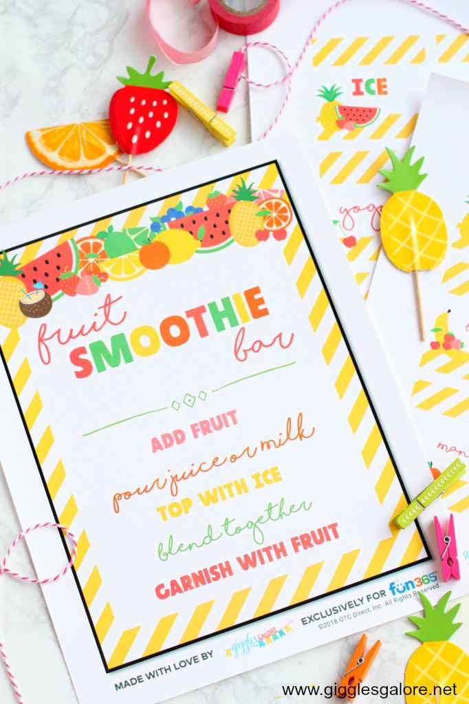 Fruit smoothie bar menu