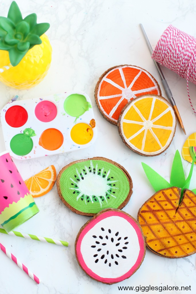 Summer fruit wood coasters
