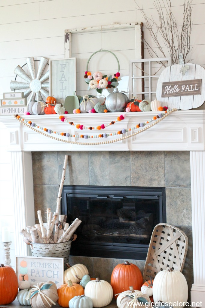 Colorful fall mantel decor