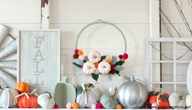 Colorful fall mantel decorations