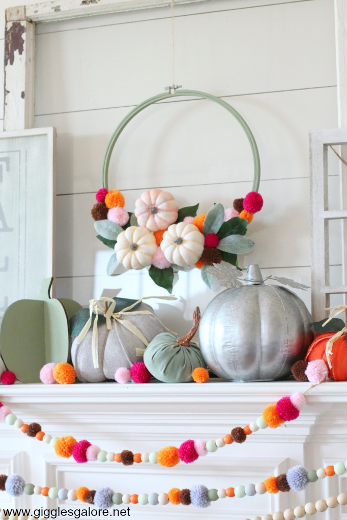 Colorful fall pom pom hoop wreath