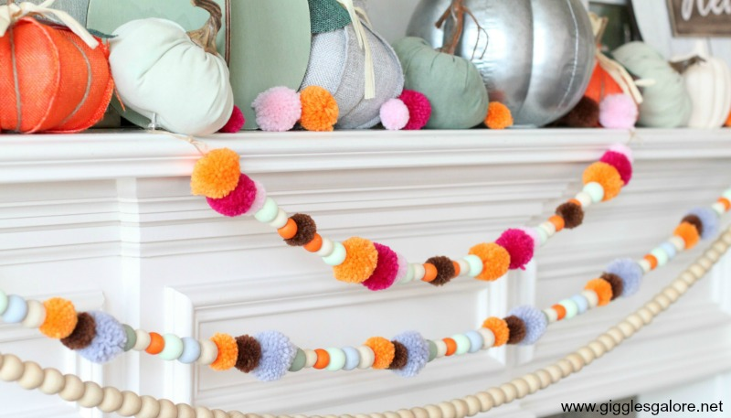 Colorful fall wood bead and pom pom garland