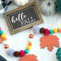 Colorful fall wood bead garland