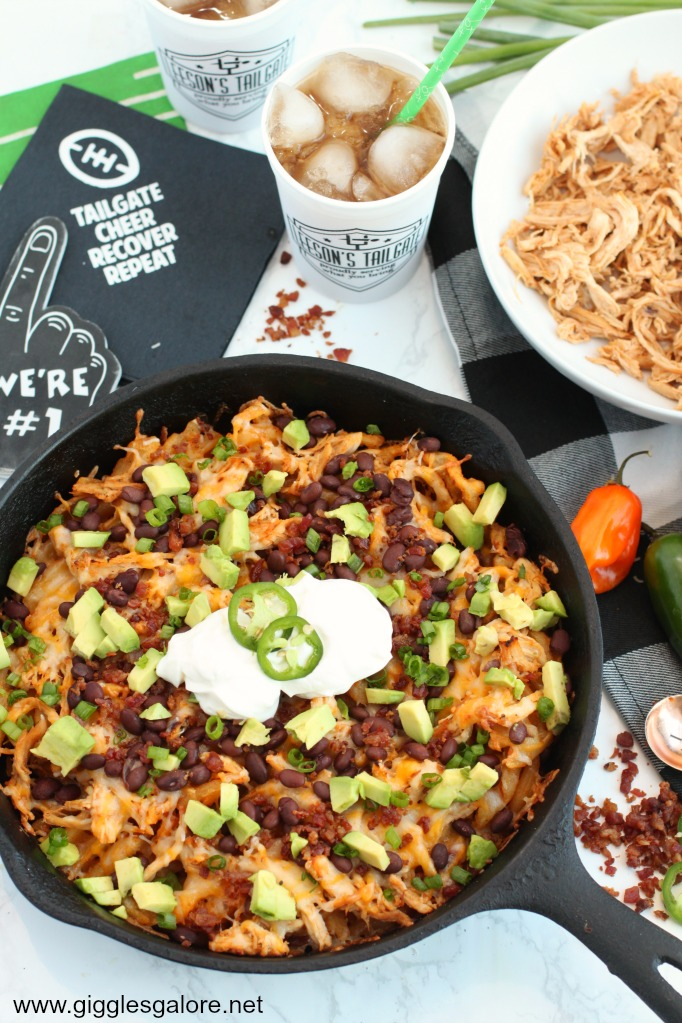 Game day loaded bbq chicken skillet fries