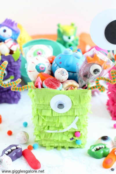 Colorful halloween monster favor box piñata
