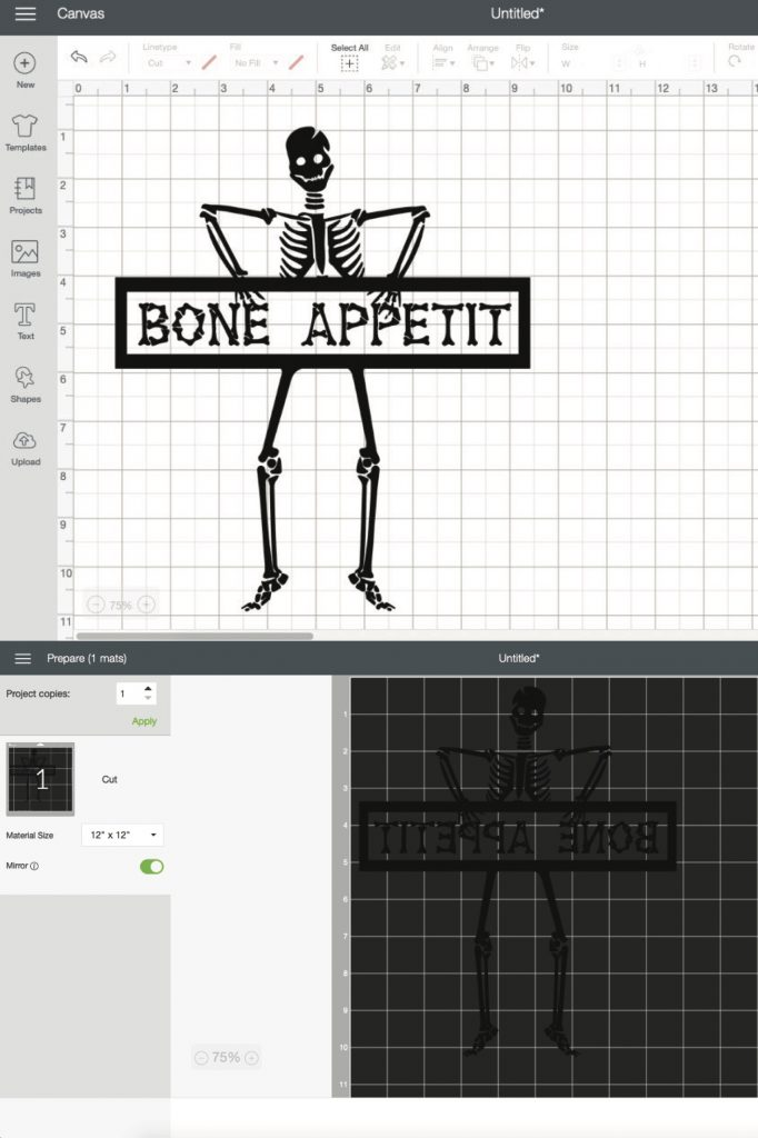 cricut design space screen shot