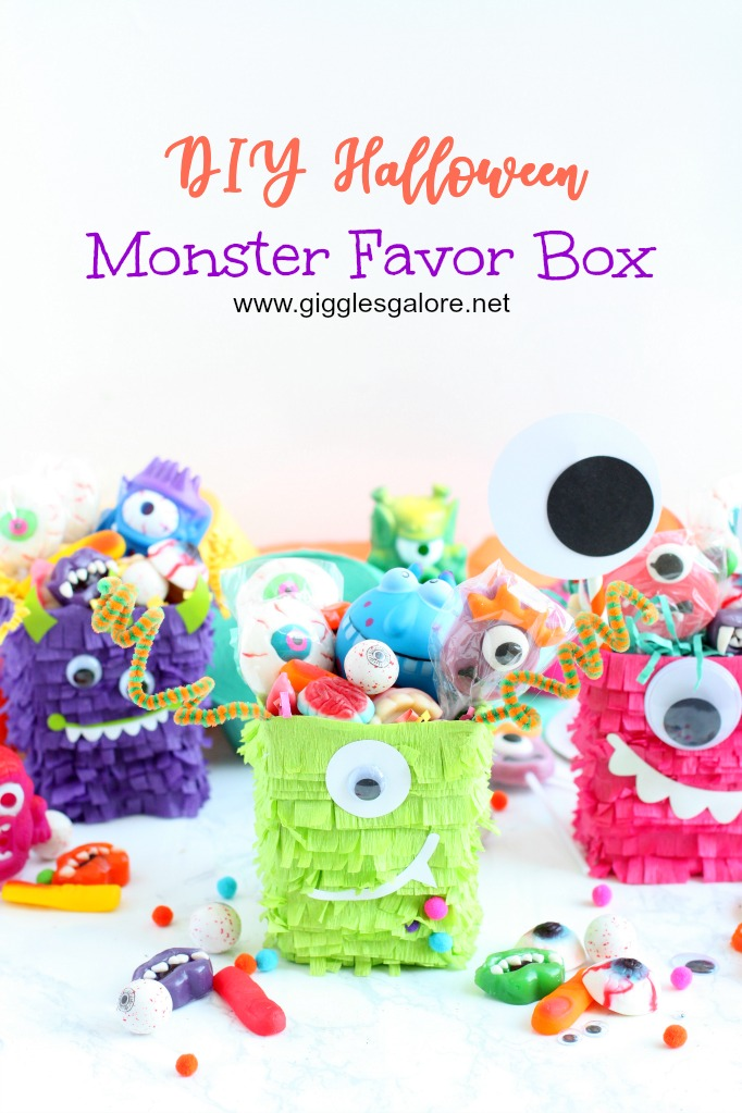 Diy halloween monster favor box with candy