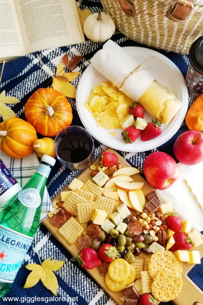 Fall picnic blanket spread