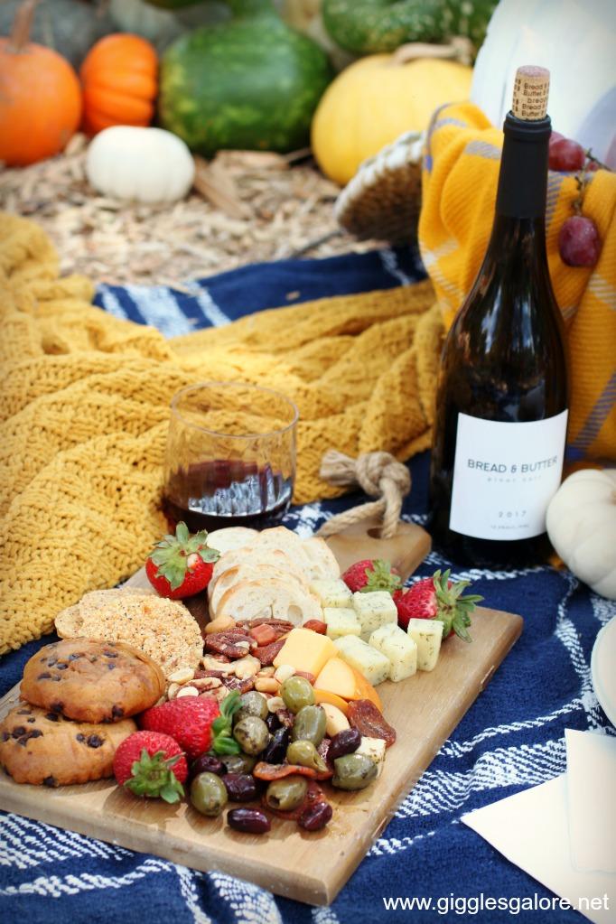 Fall picnic charcuterie board