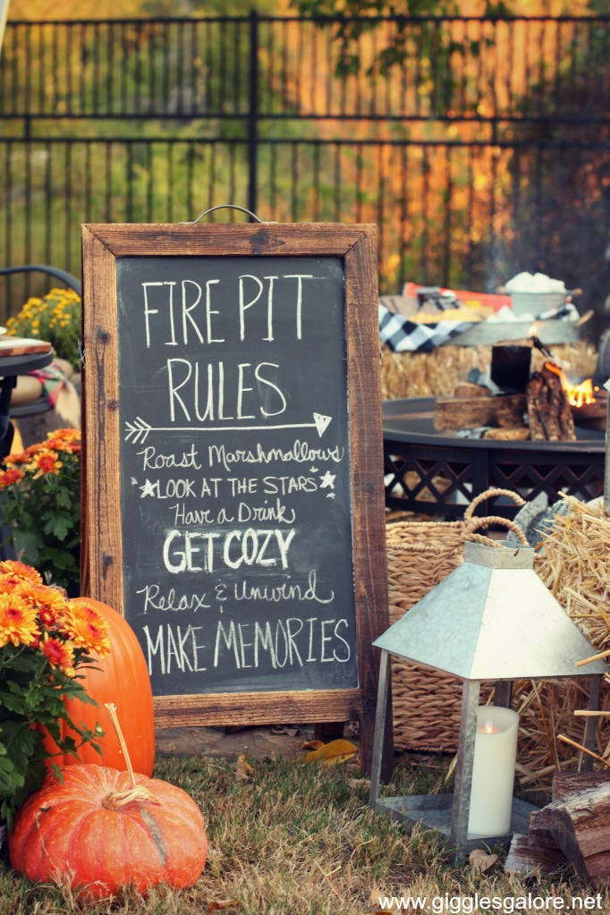 Fire pit rules chalkboard sign