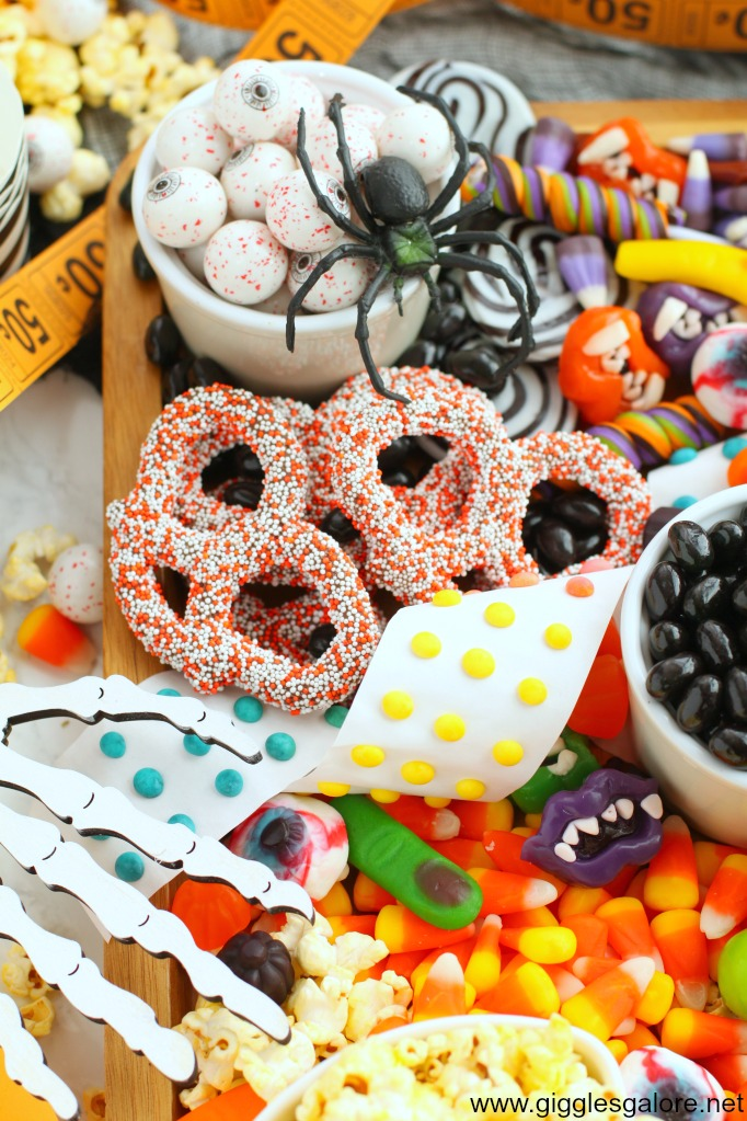 Halloween charcuterie board gumball eyes