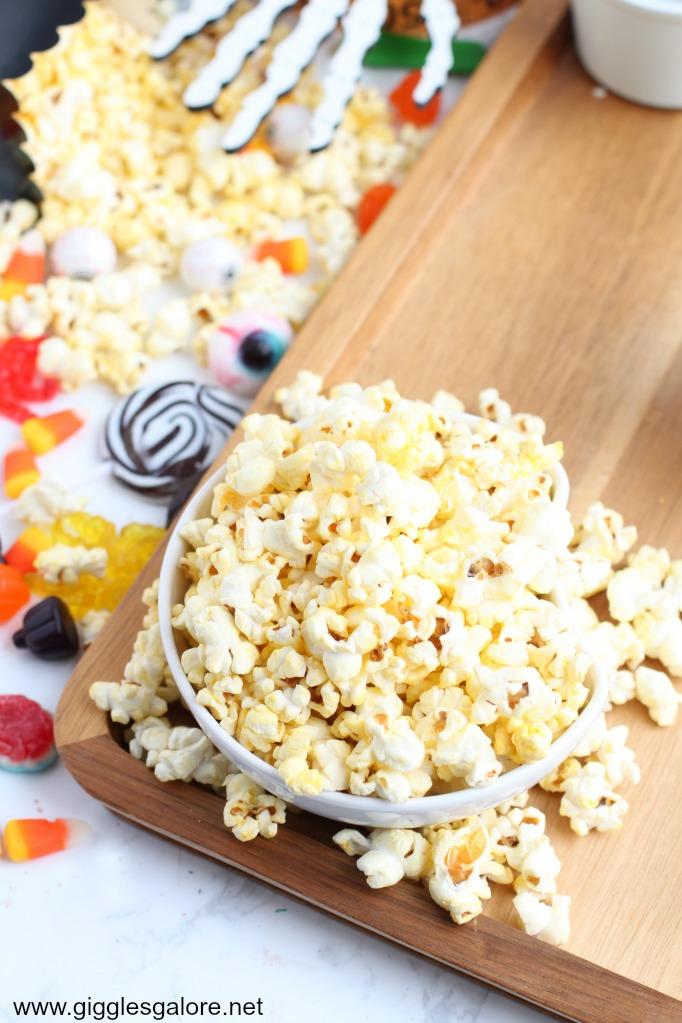 Halloween charcuterie board popcorn