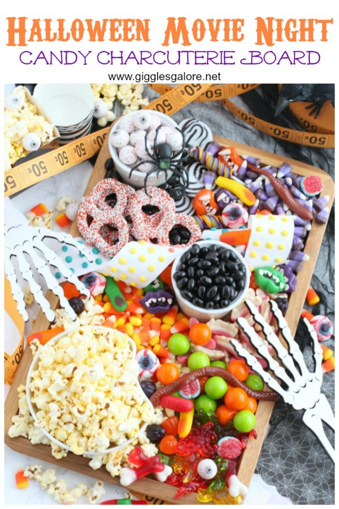 Halloween movie night candy charcuterie board