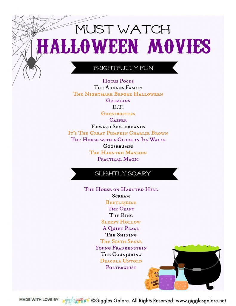 Must watch halloween movies printable