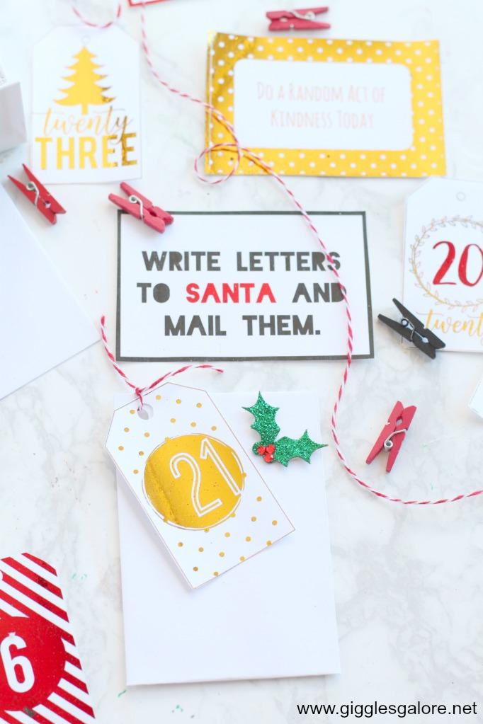 Activity advent calendar envelopes