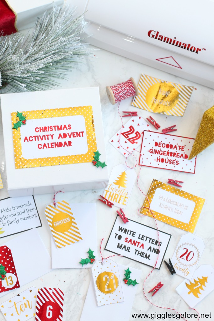 Activity advent calendar gift box glaminator