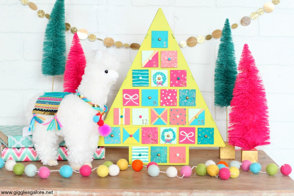 Colorful modern advent christmas tree calendar