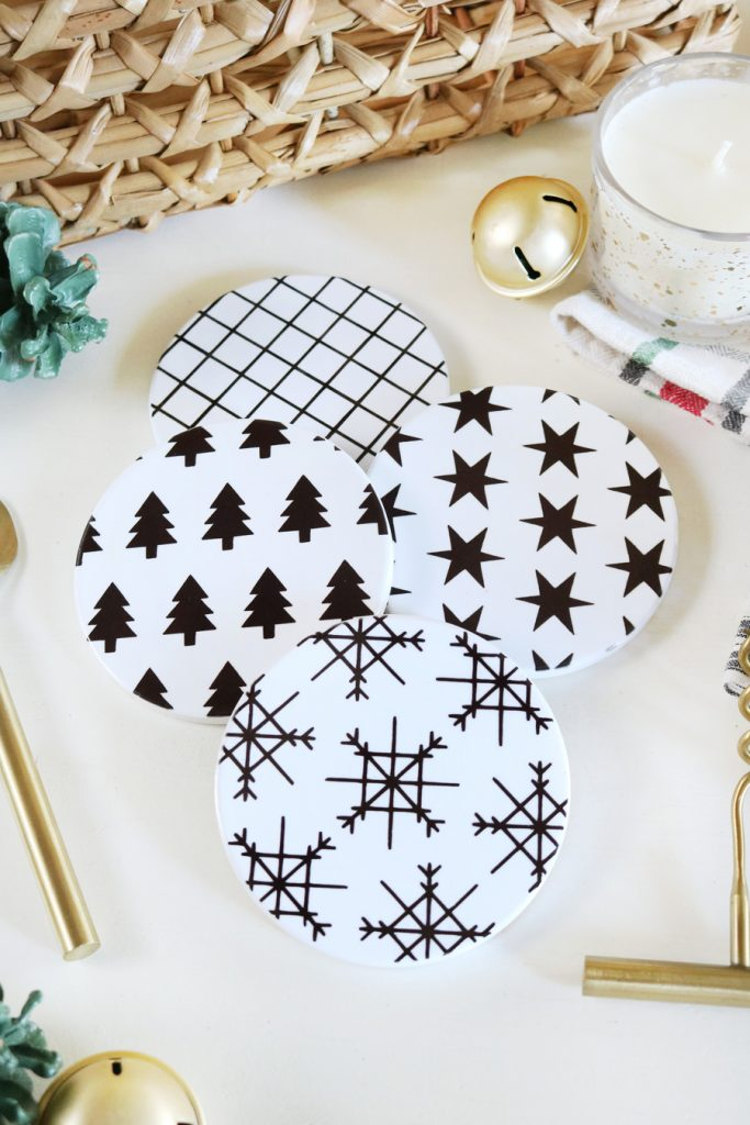 Diy black white modern christmas coasters with cricut infusible ink