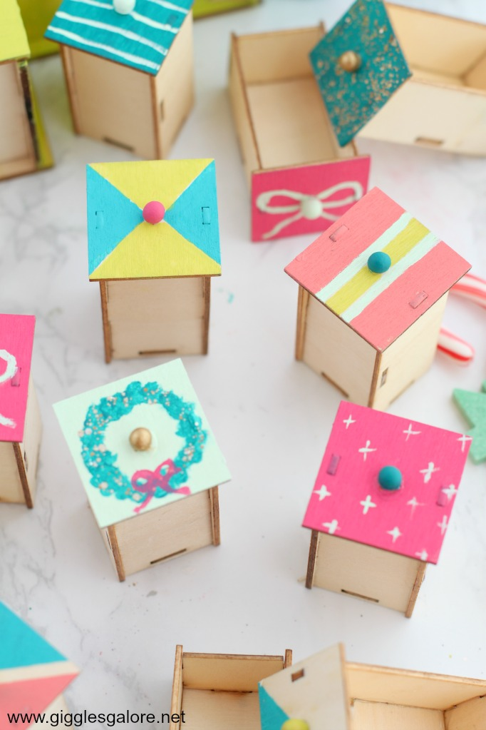 Diy colorful painted advent drawers
