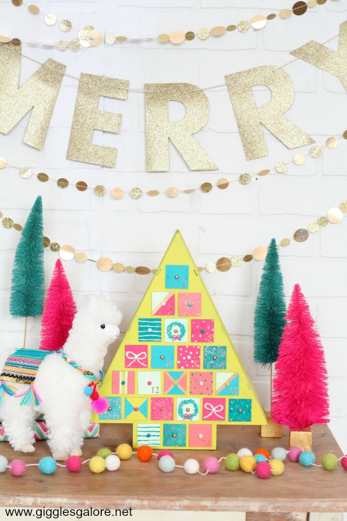 Diy colorful painted christmas tree advent calendar