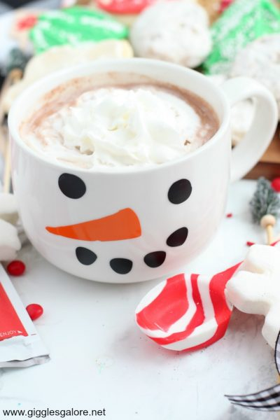 Diy snowman hot cocoa mug