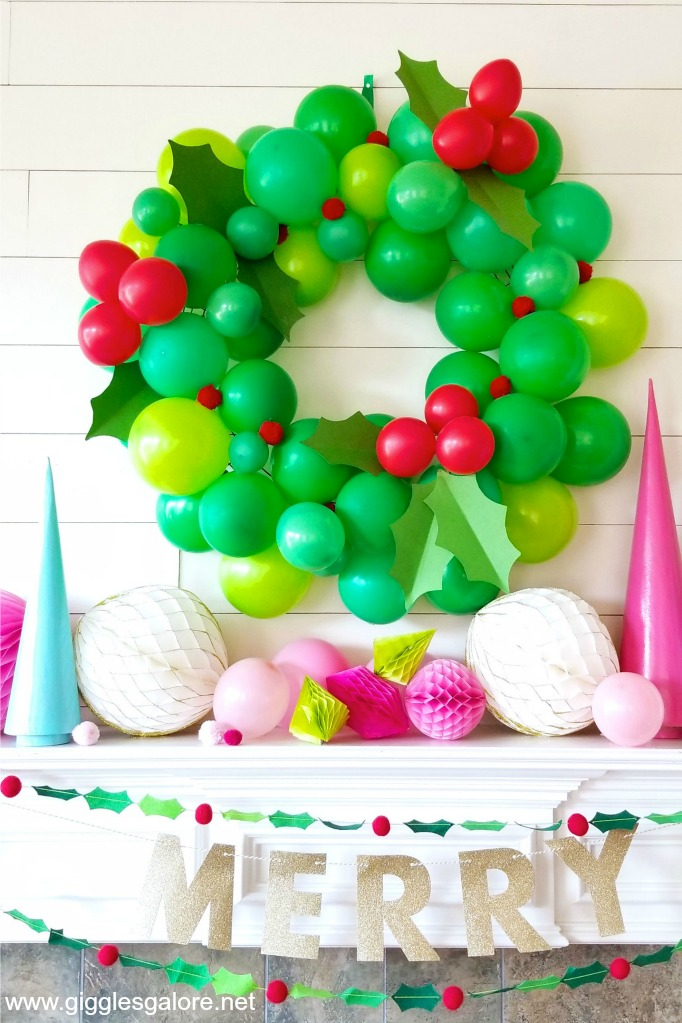 DIY Giant Balloon Holiday Wreath