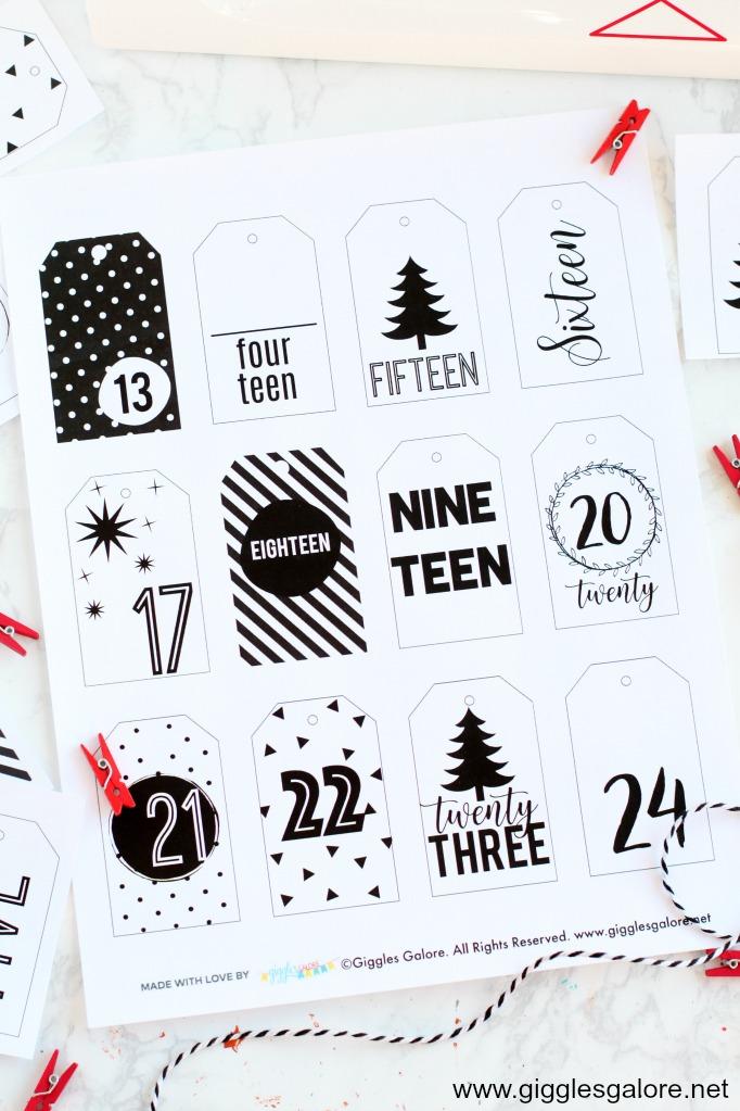 Modern activity advent calendar tags