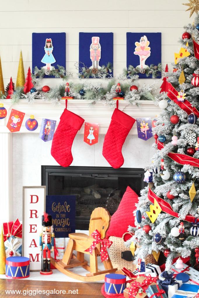 Nutcracker christmas tree and mantel