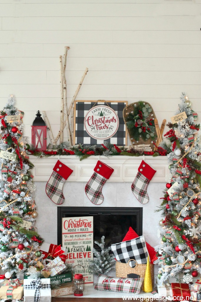 Rustic farmhouse christmas trees and mantel