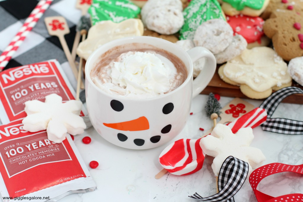 Snowman hot cocoa mug and cookies