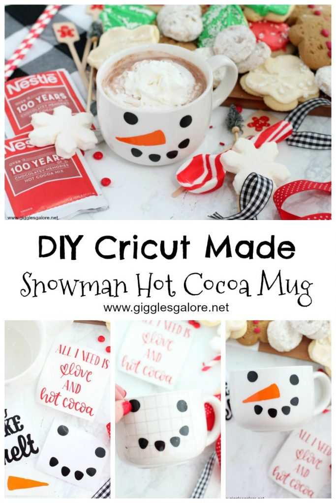 Diy cricut made snowman hot cocoa mug