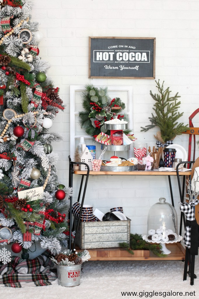 Hot cocoa station christmas carol party ideas