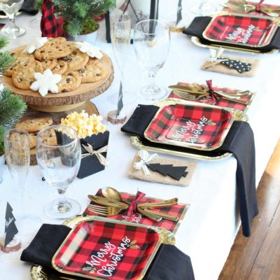 Red and Black Buffalo Plaid Holiday Dinner Party