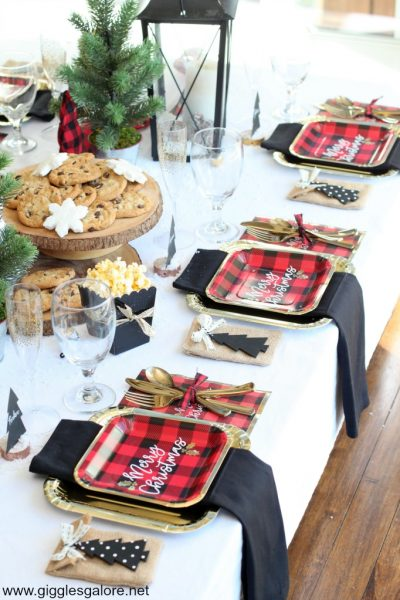 Rustic and glam buffalo check table setting