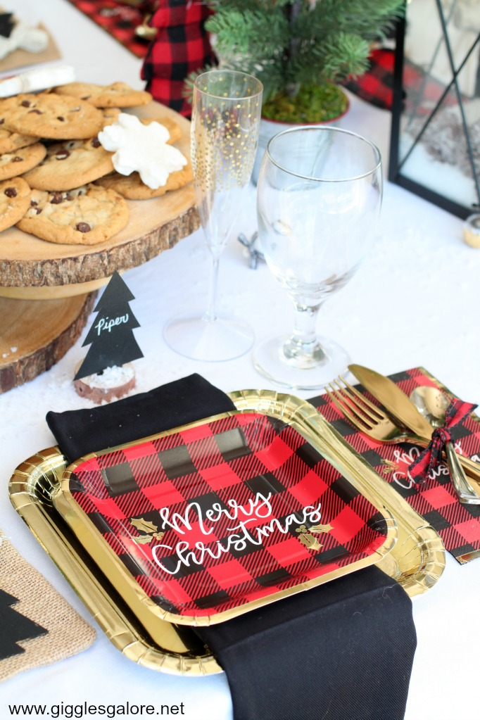 Rustic and glam holiday table setting