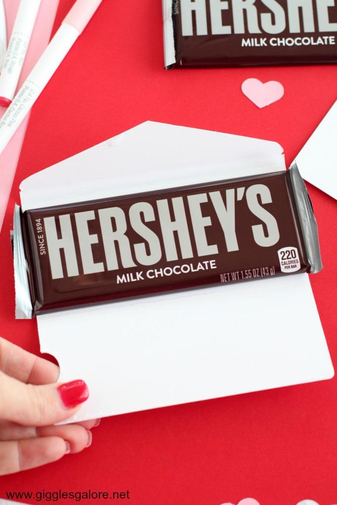 Chocolate bar valentine candy wrapper