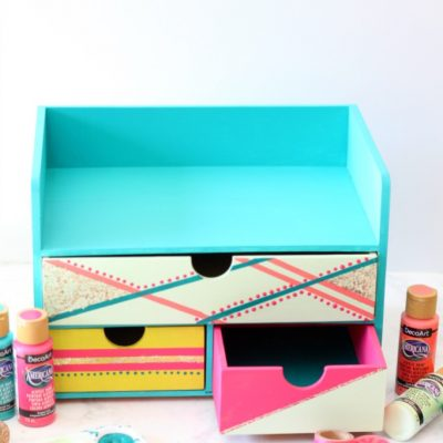 DIY Colorful Painted Desk Organizer