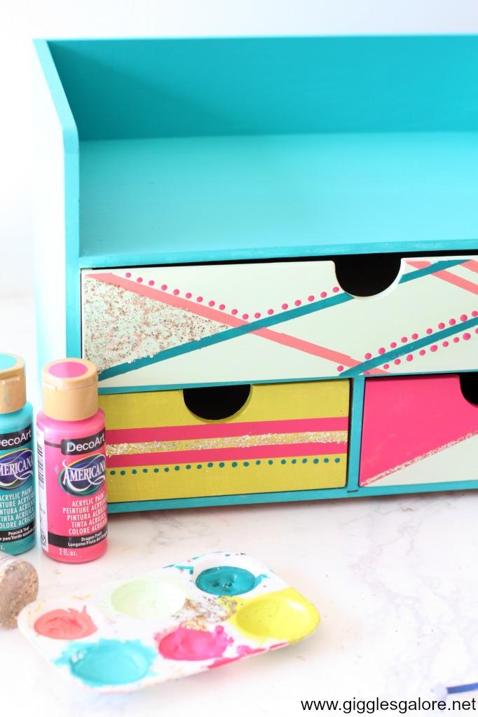 Colorful desk painted desk organizer