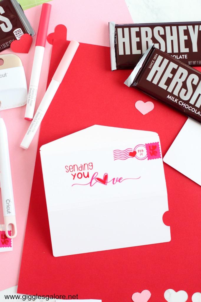 Cricut postcard valentine candy wrapper