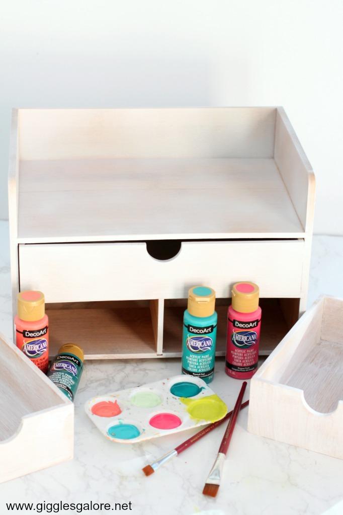 Desk organizer white primer