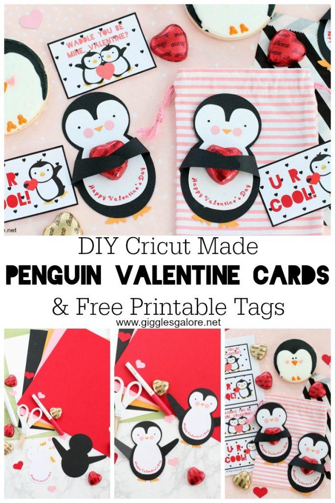 Diy cricut made penguin valentine cards giggles galore