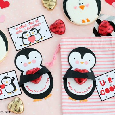 DIY Cricut Made Penguin Valentine Card