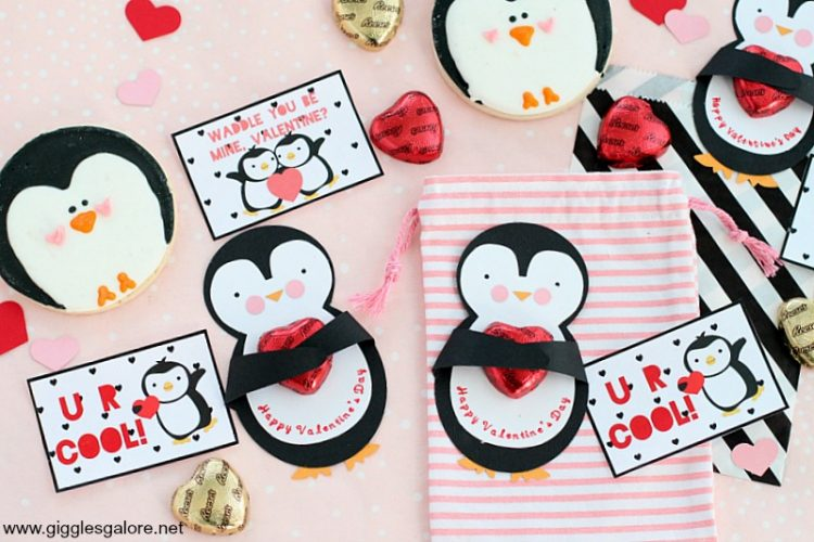 Diy penguin valentine card and printable tags