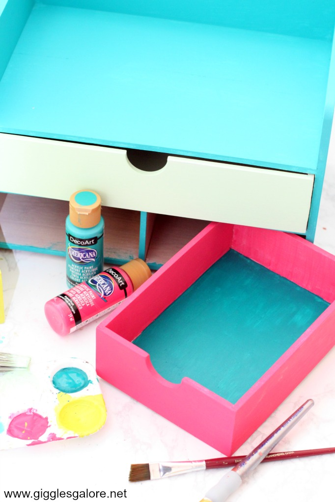 Painted drawers desk organizer
