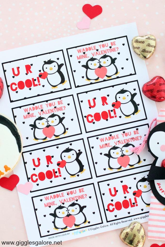 Penguin valentine card printable tags