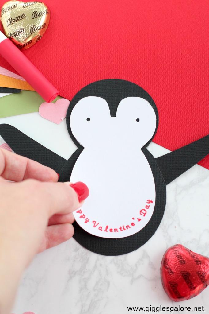 Penguin valentine card step 2