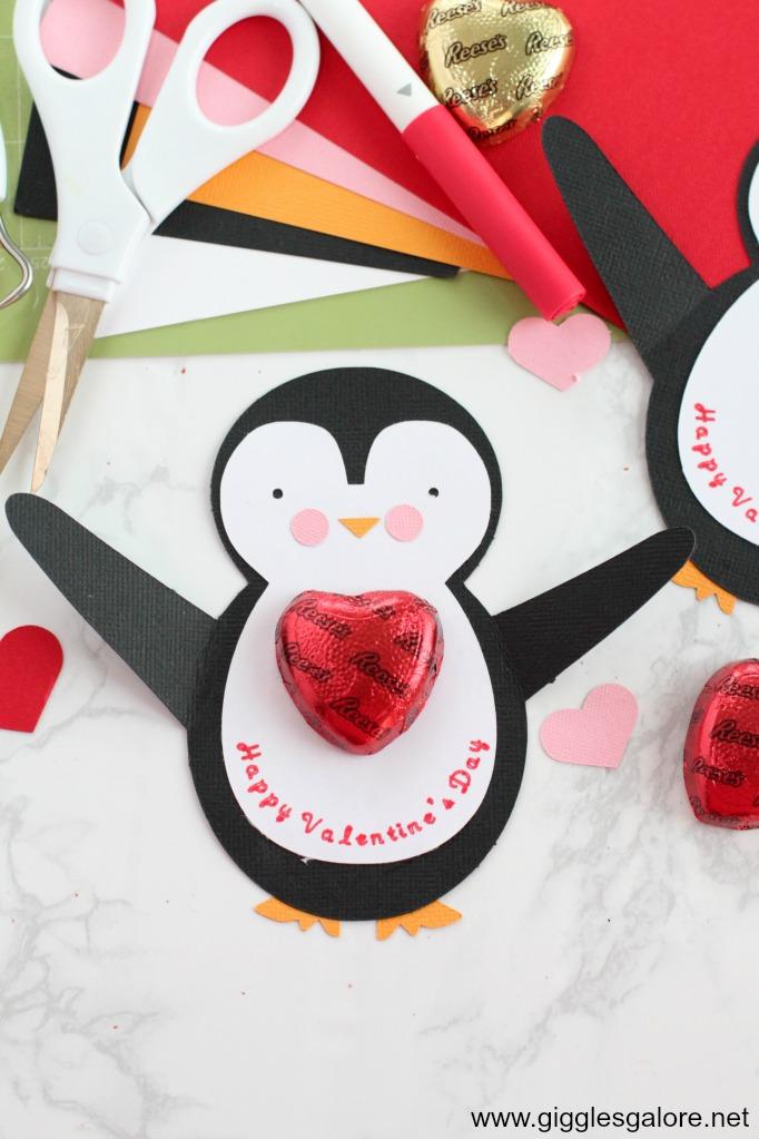 Penguin valentine card step 5