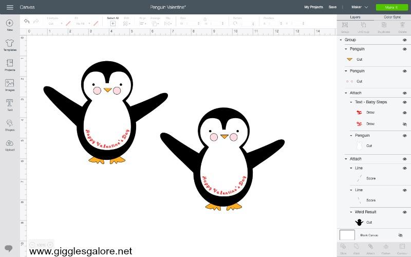 Penguin valentine card svg