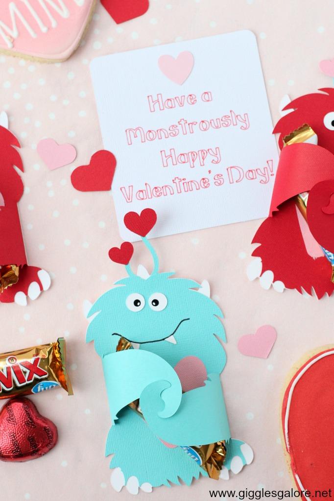 Blue monster valentine card