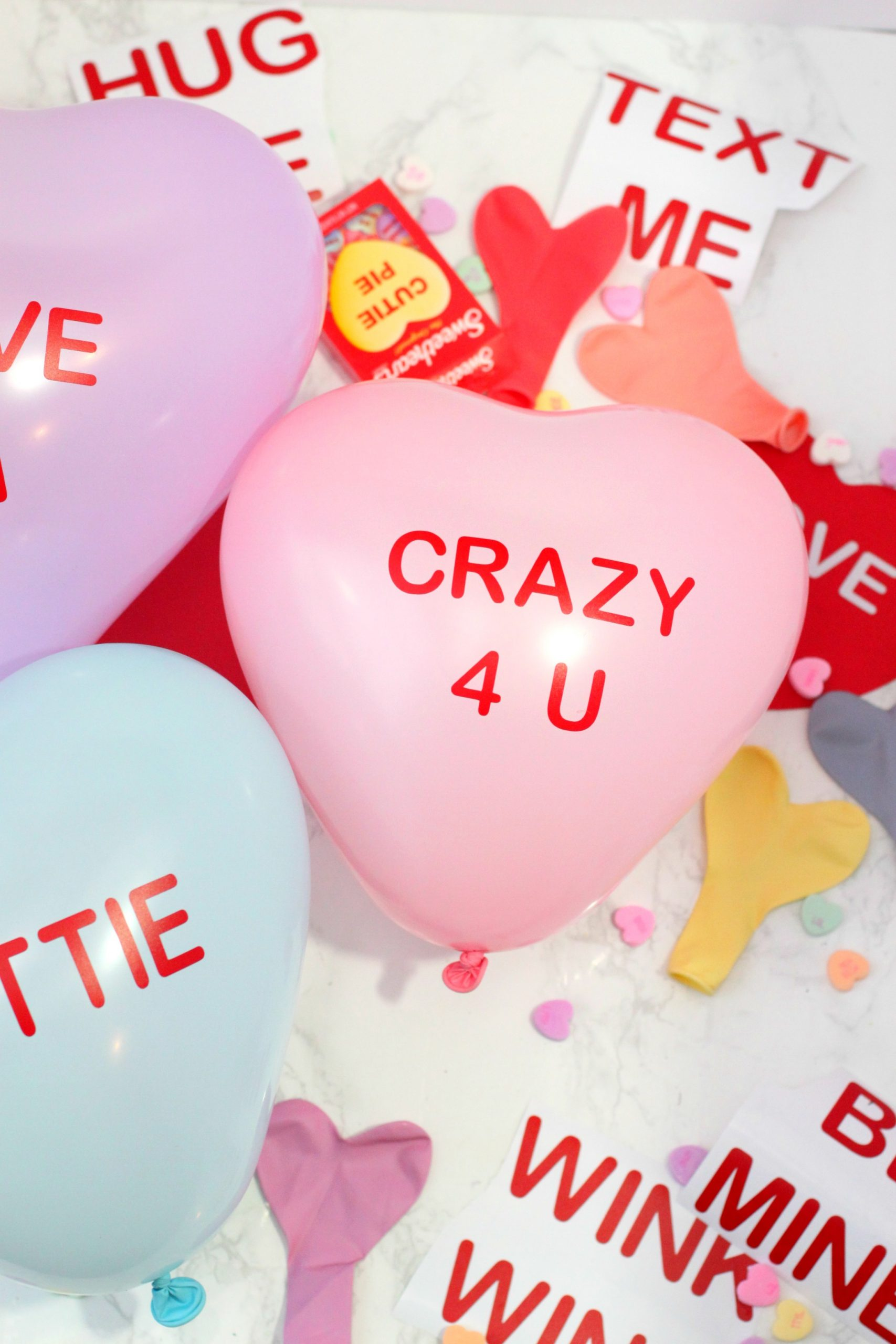 18 Personalized Valentine/'s Conversation Hearts Balloons!!